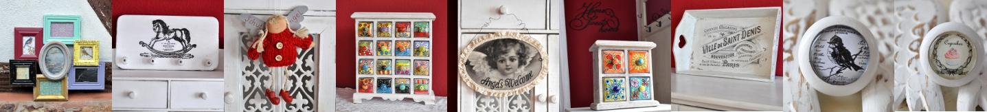 Apothekerschr�nkchen           und Bilderrahmen-Collagen bei Shabbyflair